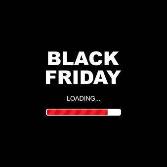 Bandeira negra de venda sexta-feira. letras de sexta-feira negra com escala de carregamento vermelha sobre fundo preto. ilustração vetorial eps 10