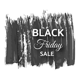 Bandeira negra de venda sexta-feira. texto branco na pincelada escura do grunge. ilustração vetorial