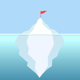 Bandeira no iceberg com vetor de céu claro