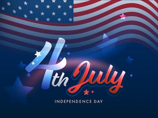 Bandeira ondulada americana sobre fundo azul para a celebração do dia da independência.