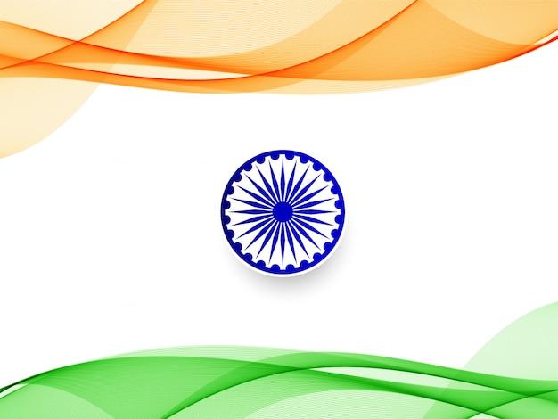 Bandeira ondulada elegante indiano design de fundo