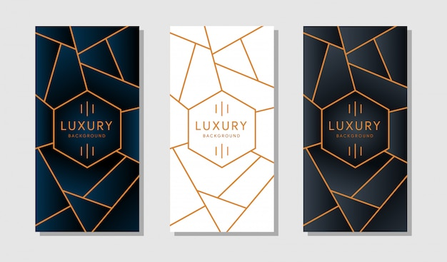 Bandeira ou cartão com bordas geométricas douradas modernas em um fundo branco.