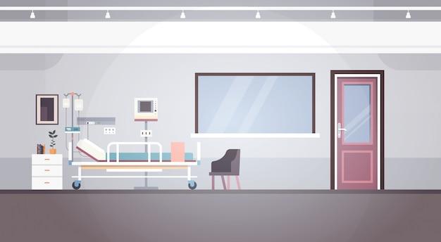 Bandeira paciente da divisão da terapia intensiva interior da sala de hospital com espaço da cópia