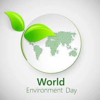 Bandeira para o dia de ambiente de mundo com folhas verdes.
