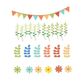 Bandeira pastel e conjunto de jardim
