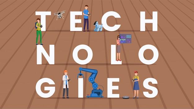Bandeira plana de tecnologias palavra conceito