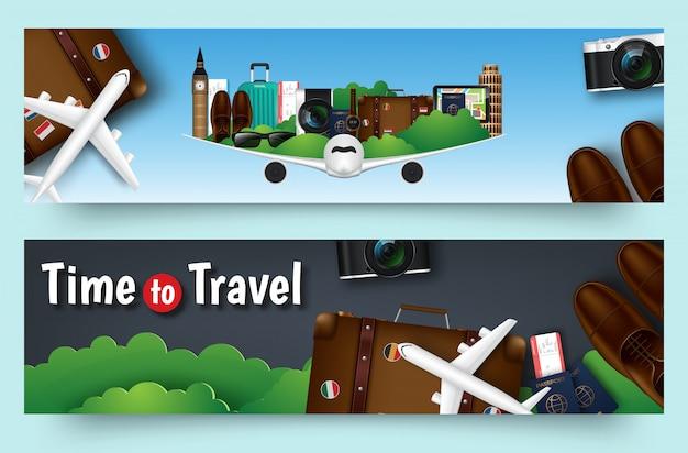 Bandeira plana de vetor colorido viagens definido para o seu negócio
