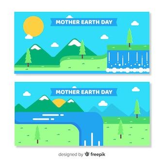 Bandeira plana do dia da mãe terra