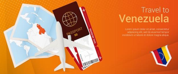 Bandeira pop-under de viagens para a venezuela. banner de viagem com passaporte, passagens, avião, cartão de embarque, mapa e bandeira da venezuela.