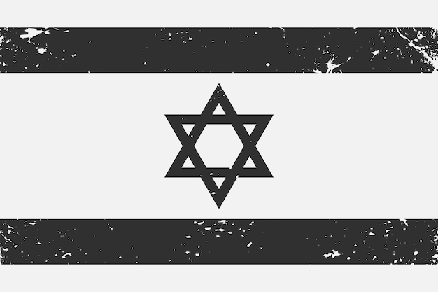 Bandeira preta e branca de israel com estilo grunge