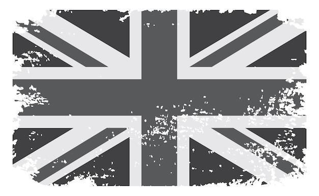 Bandeira preto e branco do grunge do reino unido