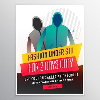 Bandeira projeto venda de moda com panos e detalhes da oferta