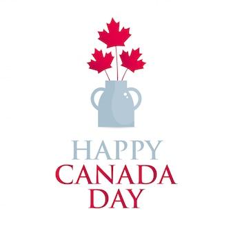 Bandeira quadrada feliz dia do canadá. um buquê de folhas de bordo vermelhas e um vaso zeloso em um fundo branco.