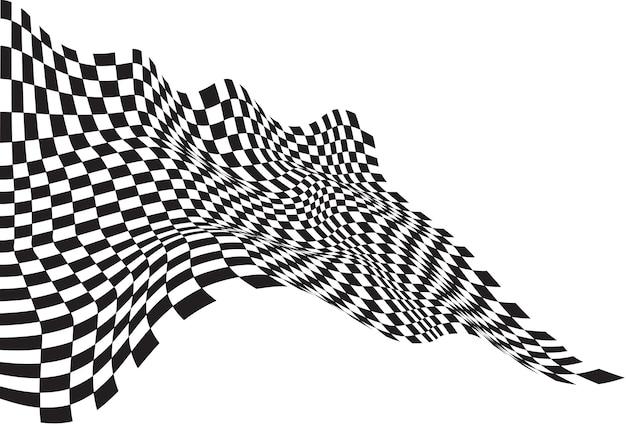 Bandeira quadriculada onda preto sobre fundo branco.