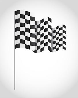 Bandeira quadriculada sobre ilustração vetorial de fundo cinza