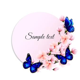 Bandeira redonda com borboletas e flores azuis de sakura