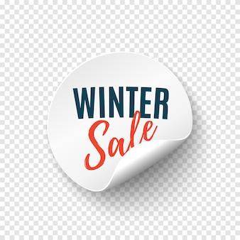 Bandeira redonda de venda de inverno. modelo de etiqueta de preço. emblema da promoção. ilustração vetorial