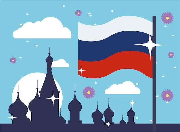 Bandeira russa e silhueta da catedral