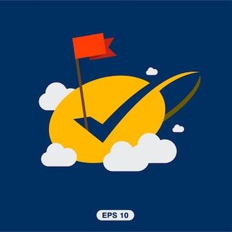 Bandeira sucesso com tick ok nas nuvens
