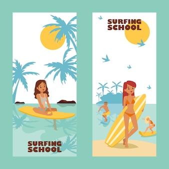 Bandeira surfando da propaganda da escola, ilustração. lazer de verão ativo, garota atraente com prancha de surf, personagem de desenho animado. férias na ilha tropical, jovens surfistas