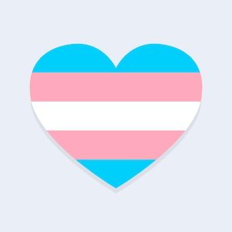 Bandeira trans em formato de coração