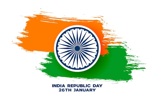 Bandeira tricolor grunge indiana abstrata para o dia da república