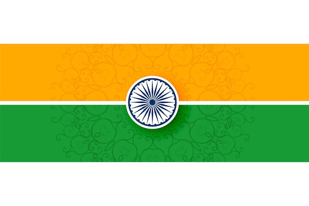Bandeira tricolor indiana com design de estilo simples