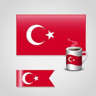 Bandeira turca definida com copo de chá vetor