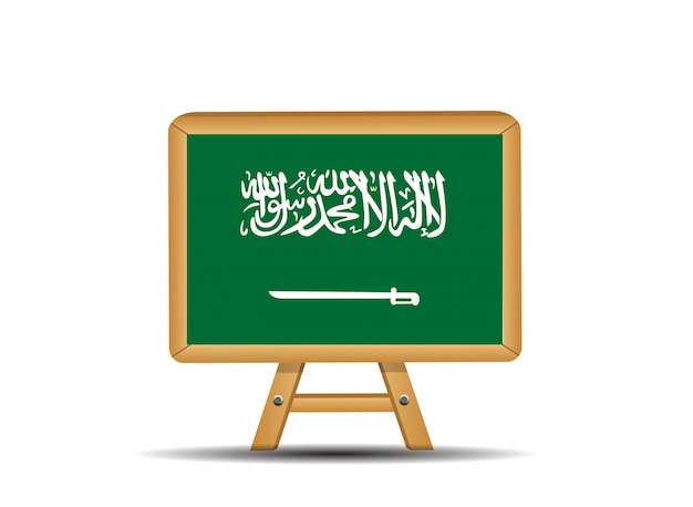 Bandeira verde da arábia saudita com uma espada.