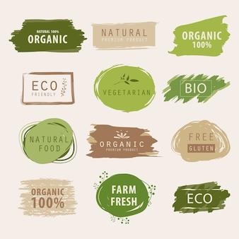 Bandeira verde natural e orgânica ou pintura da etiqueta.