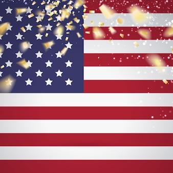 Bandeira vermelha branca e azul com confetes de festa.