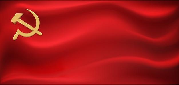 Bandeira vermelha da união soviética. bandeira com foice e martelo