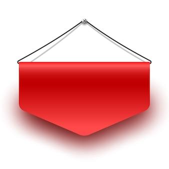 Bandeira vermelha isolada no branco
