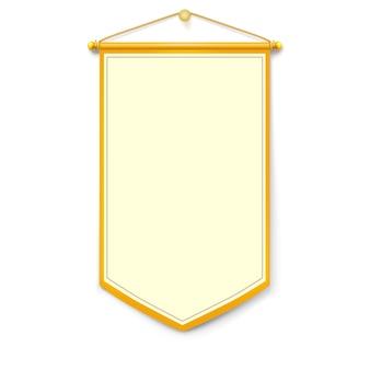 Bandeira vertical amarela com fio de ouro pendurado na parede