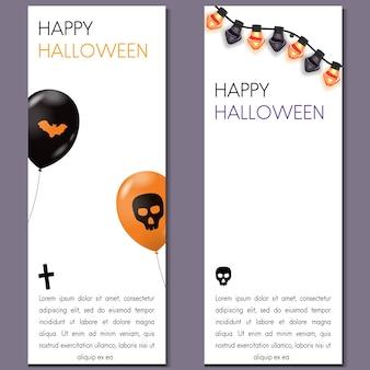 Bandeira vertical de halloween dos desenhos animados