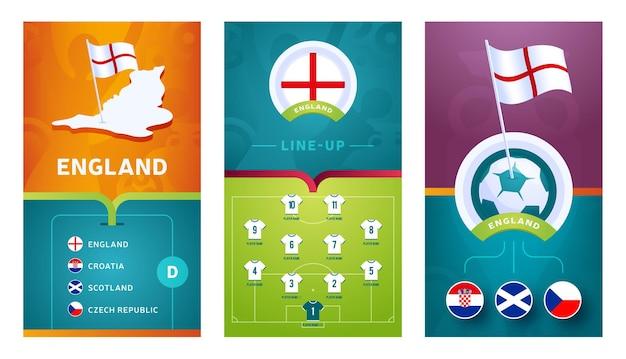 Bandeira vertical do futebol europeu da equipe da inglaterra definida para mídias sociais. banner do grupo d da inglaterra com mapa isométrico, bandeira, cronograma de jogos e escalação no campo de futebol