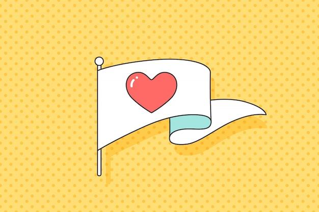 Bandeira vintage com símbolo de coração vermelho