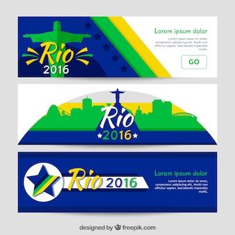 Bandeiras abstratas conjunto de brasil