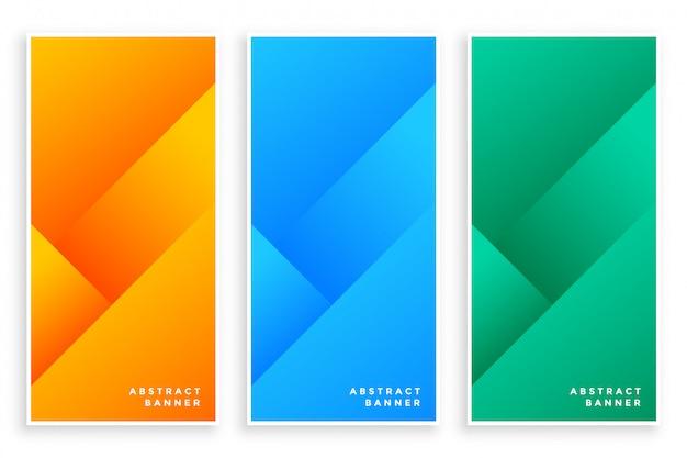 Bandeiras abstratas modernas elegantes conjunto de três
