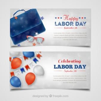 Bandeiras americanas do dia de trabalho feliz