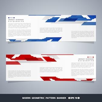 Bandeiras azuis e vermelhas do inclinação moderno abstrato da tecnologia.