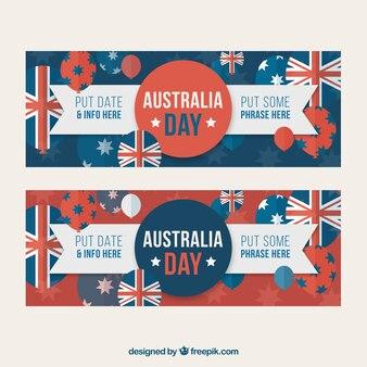 Bandeiras azuis e vermelhos prontos para o dia austrália