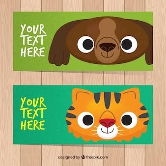 Bandeiras bonitas de cachorro e gato