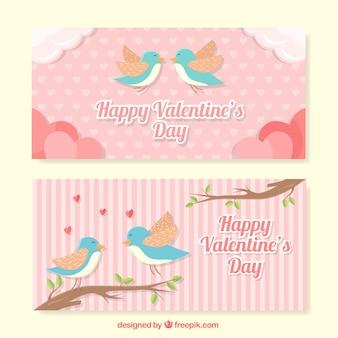 Bandeiras bonitos com os pássaros para dia dos namorados em cores pastel