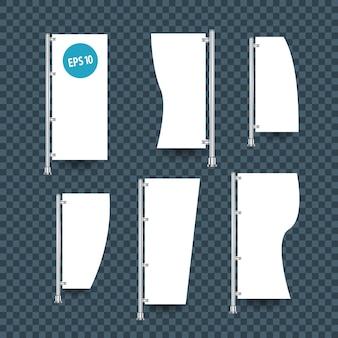 Bandeiras brancas de modelo vazio com ilustração isolada