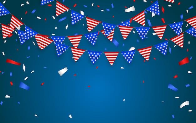 Bandeiras bunting penduradas para feriados americanos. confetes de folha azul, branco e vermelho.