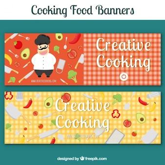 Bandeiras checkered com chef e ingredientes