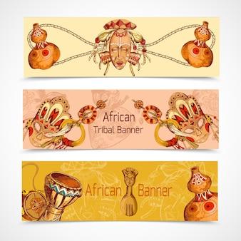Bandeiras coloridas de esboço africano horizontal