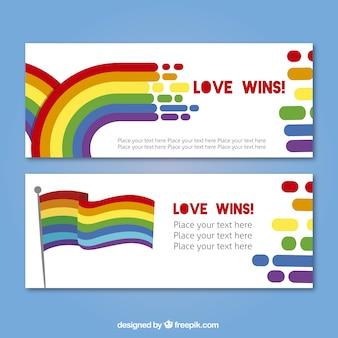 Bandeiras coloridas dia do orgulho com a bandeira e arco-íris