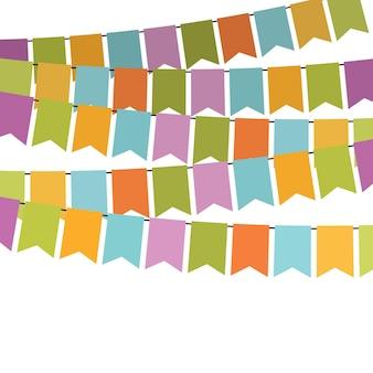 Bandeiras coloridas e guirlandas de estamenha para decoração. elementos de decoração com vários padrões. ilustração vetorial